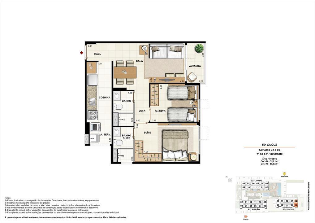 Ed. Duque   Coluna 4 e 5   Apartamento de 55,91m2 com 01 suíte | NOBRE NORTE CLUBE RESIDENCIAL – Apartamentono  Grande Méier - Rio de Janeiro - Rio de Janeiro