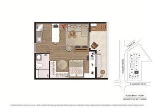 Planta tipo Final 4 34,19m² | Vibe República – Apartamento no  Centro - República - São Paulo - São Paulo