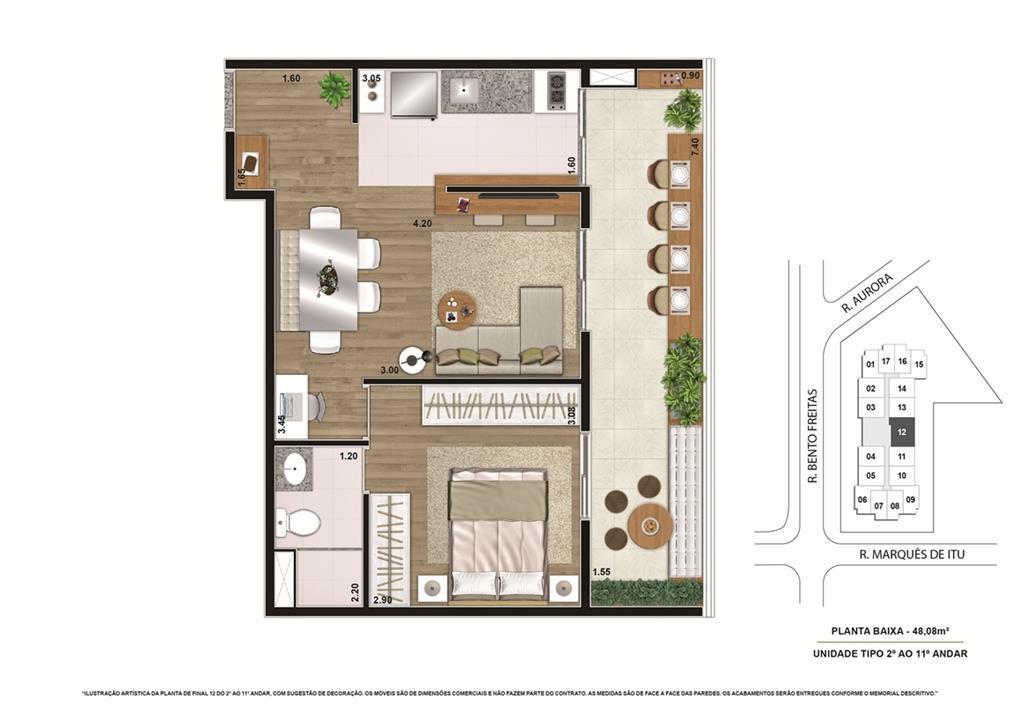 Planta tipo Final 1 48,08m² | Vibe República – Apartamentono  Centro - República - São Paulo - São Paulo