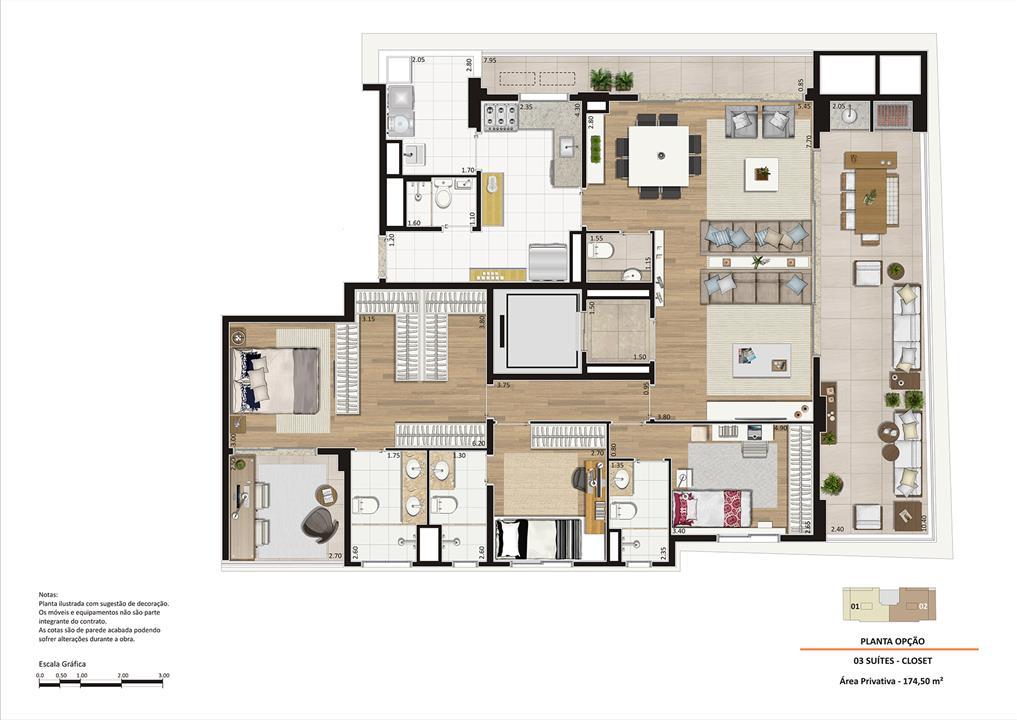 Planta opção 174m² 3 suítes Closet Ampliado | Storia Vila Clementino by Cyrela – Apartamentona  Vila Clementino - São Paulo - São Paulo