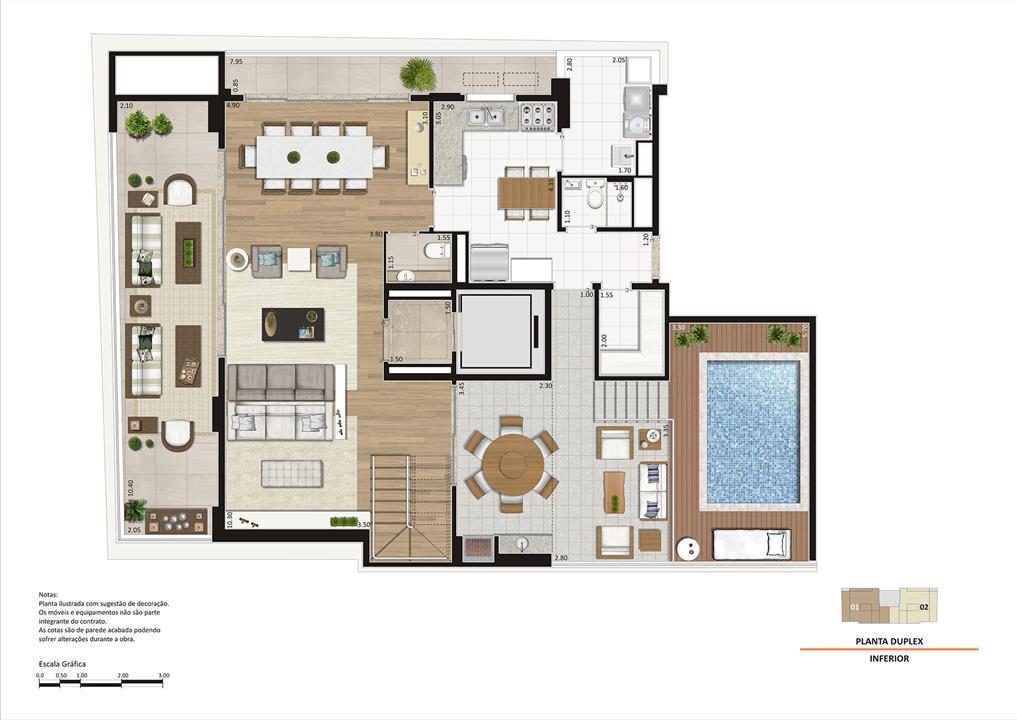 Planta Duplex Piso Inferior | Storia Vila Clementino by Cyrela – Apartamentona  Vila Clementino - São Paulo - São Paulo