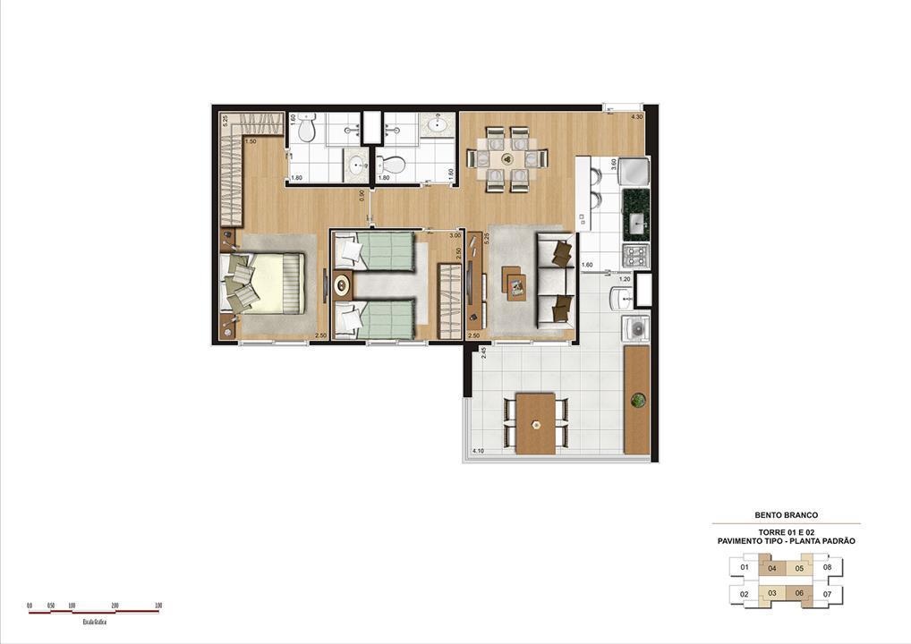 PLANTA 68M² PADRÃO | Panamerica Brickell – Apartamentoem  Santo Amaro - São Paulo - São Paulo