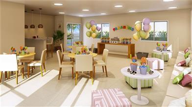 Perspectiva ilustrada do salao de festas infantil