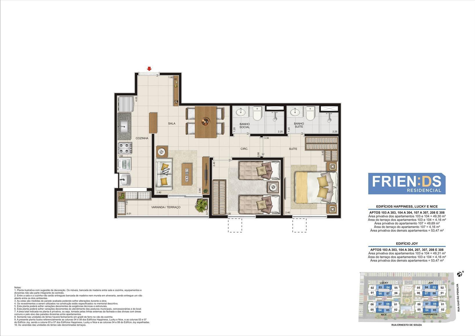 Edifícios Happiness, Lucky e Nice. Área privativa dos apartamentos 103 e 104 - 49,30m2. Área privativa do apartamento 107 - 49,59m2 Área privativa dos demais Apartamentos - 53,47m2 | Friends Residencial – Apartamento no  Andaraí - Rio de Janeiro - Rio de Janeiro