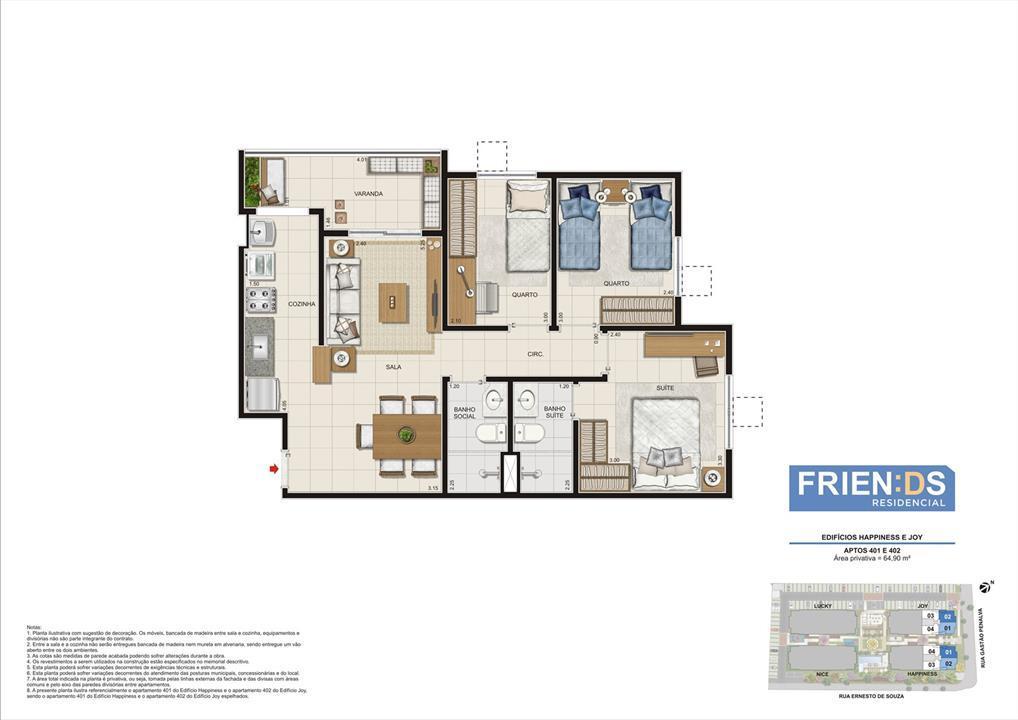 Edifícios Happiness e Joy. Apartamentos 401 e 402. Área privativa de 64,90m2 | Friends Residencial – Apartamentono  Andaraí - Rio de Janeiro - Rio de Janeiro