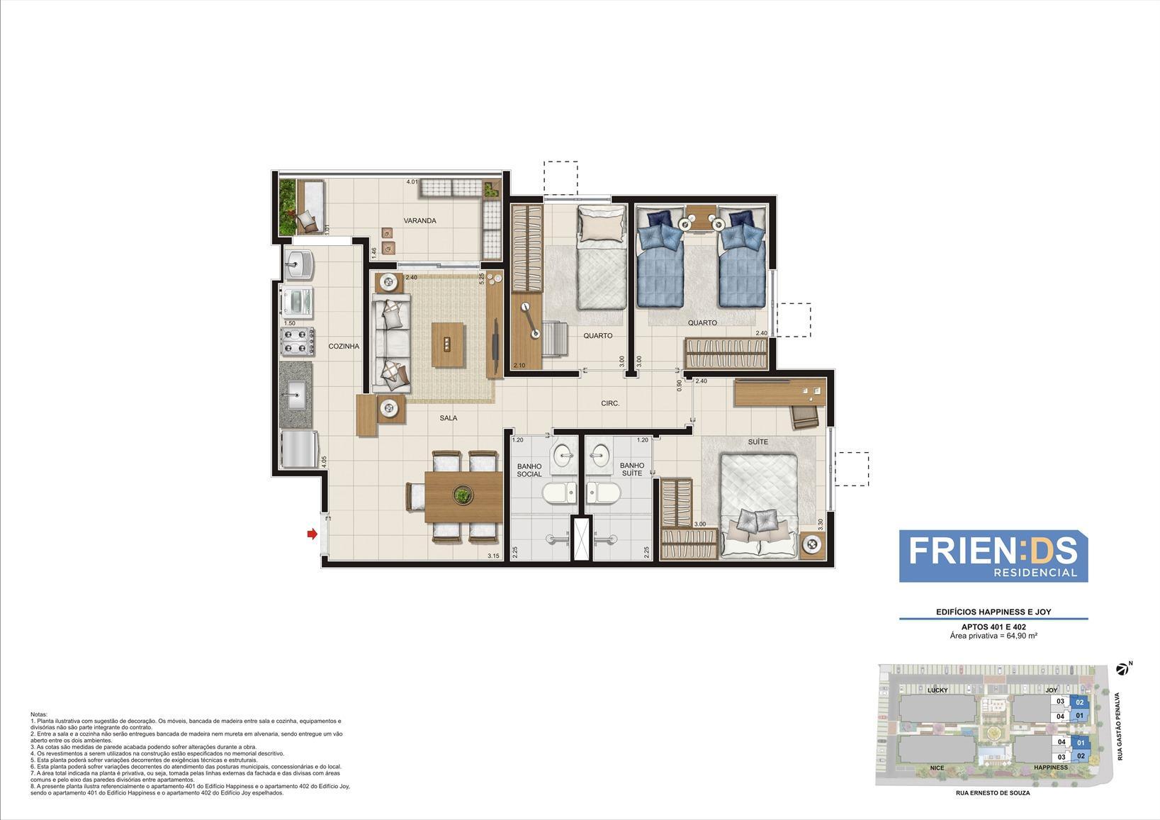 Edifícios Happiness e Joy. Apartamentos 401 e 402. Área privativa de 64,90m2 | Friends Residencial – Apartamento no  Andaraí - Rio de Janeiro - Rio de Janeiro