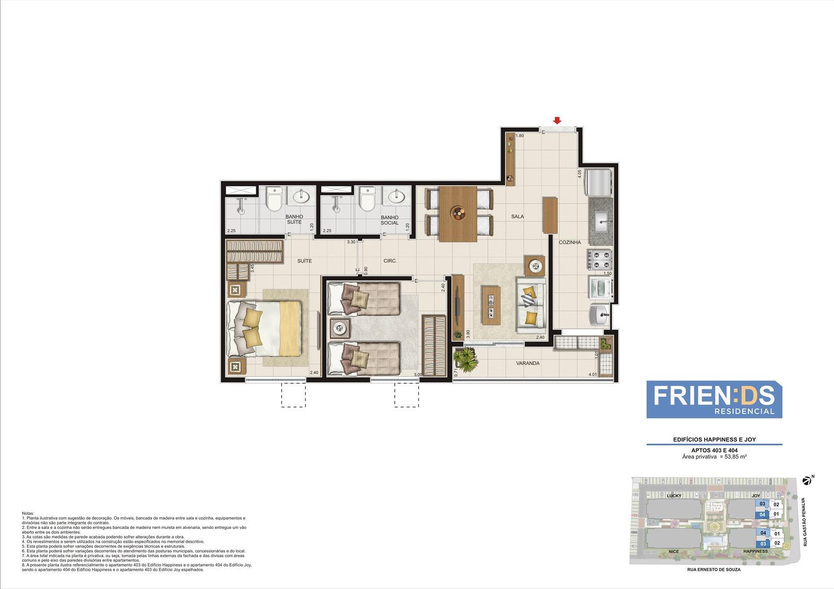 Edifícios Happiness e Joy. Apartamentos 403 e 404. Área privativa de 53,85m2 | Friends Residencial – Apartamento no  Andaraí - Rio de Janeiro - Rio de Janeiro