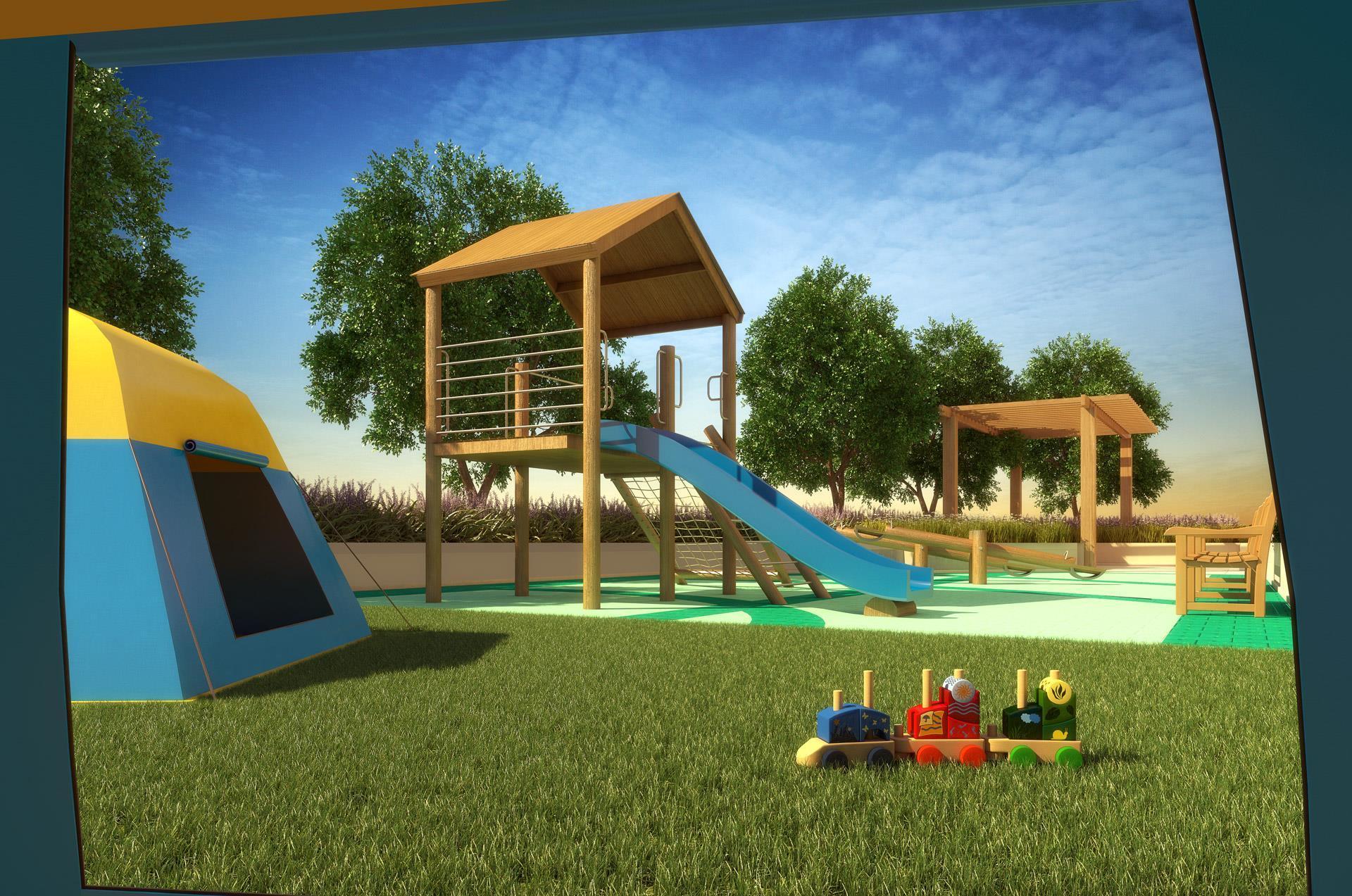 Ilustração Artística Do Playground.
