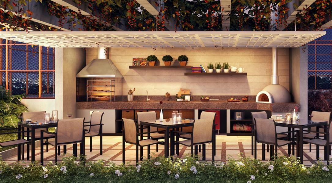 Perspectiva ilustrada do charmoso Gazebo Gourmet, com churrasqueira e forno de pizza