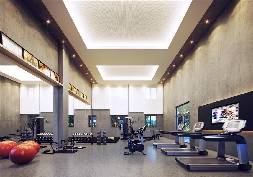 Perspectiva ilustrada do espaço Fitness, equipado para manter a saúde em dia