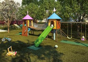 Perspectiva ilustrada do Playground, um espaço dedicado à diversão das crianças