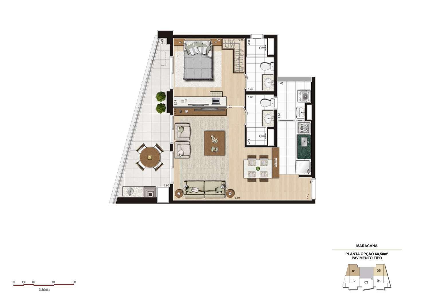 Planta opção 68m² - Finais 1 e 5 | Cyrela 2014 The Year Edition – Apartamentono  Alto da Lapa - São Paulo - São Paulo