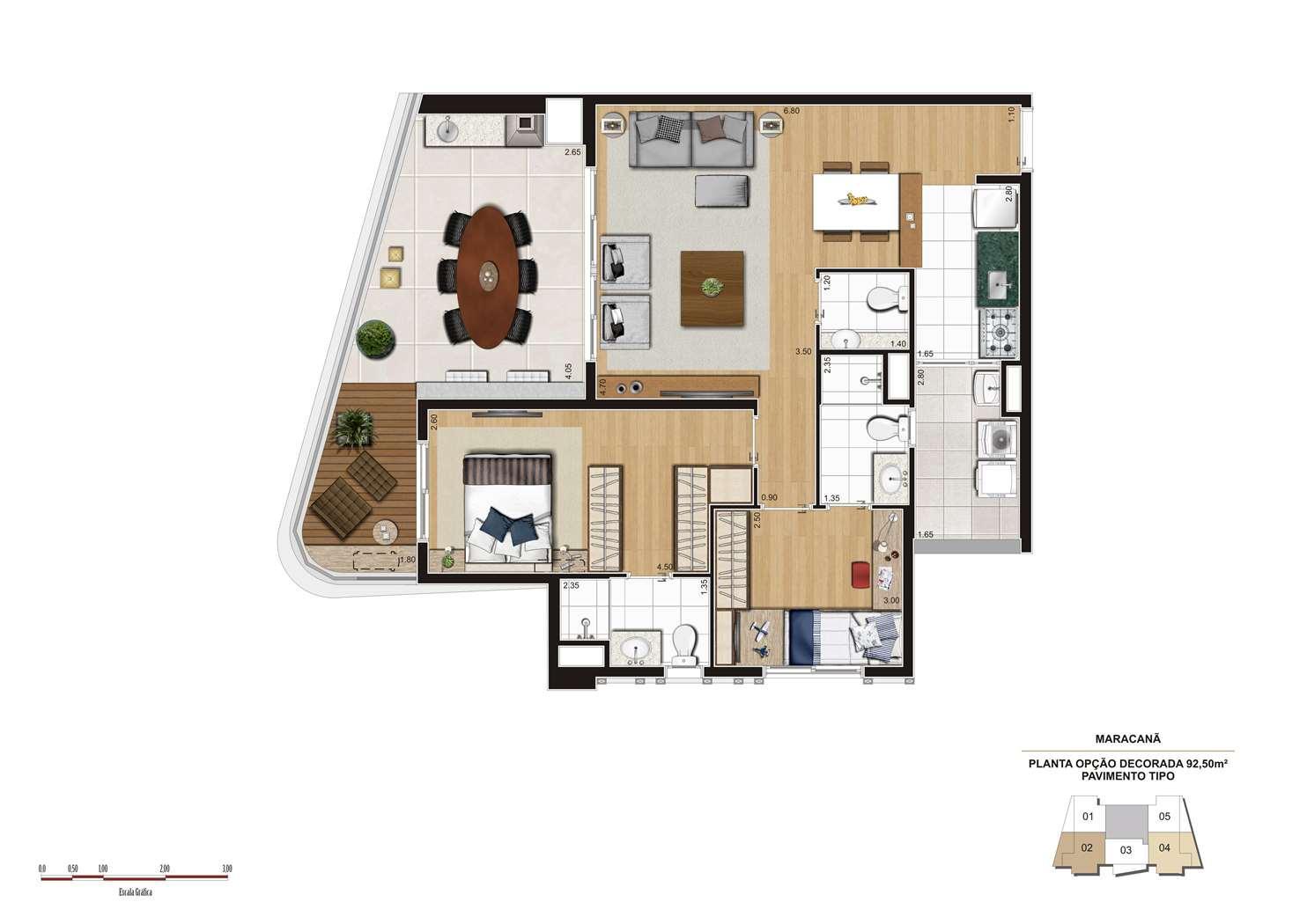 Planta opção 92m² | Cyrela 2014 The Year Edition – Apartamentono  Alto da Lapa - São Paulo - São Paulo