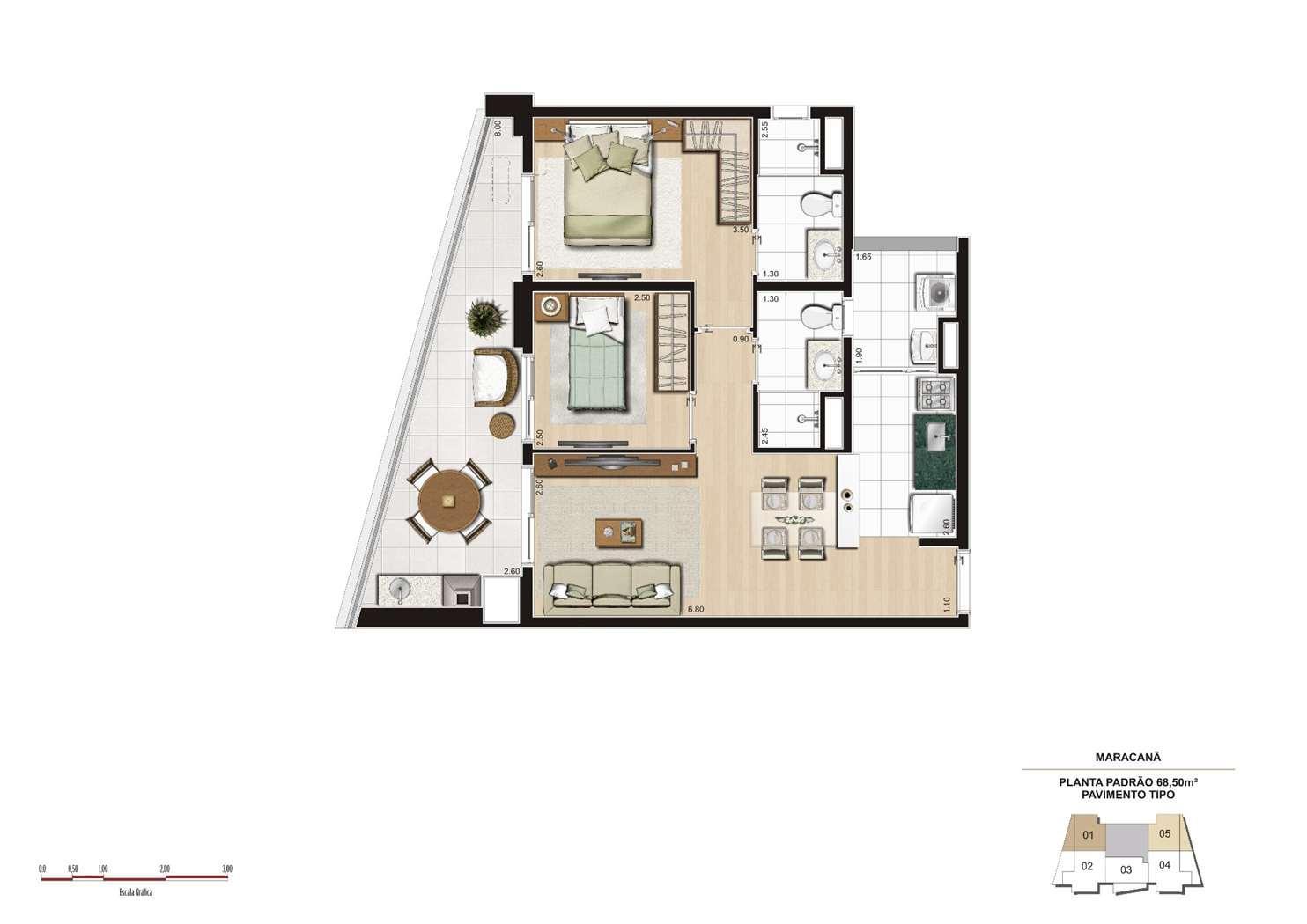 Planta tipo 68m² - Finais 1 e 5 | Cyrela 2014 The Year Edition – Apartamentono  Alto da Lapa - São Paulo - São Paulo