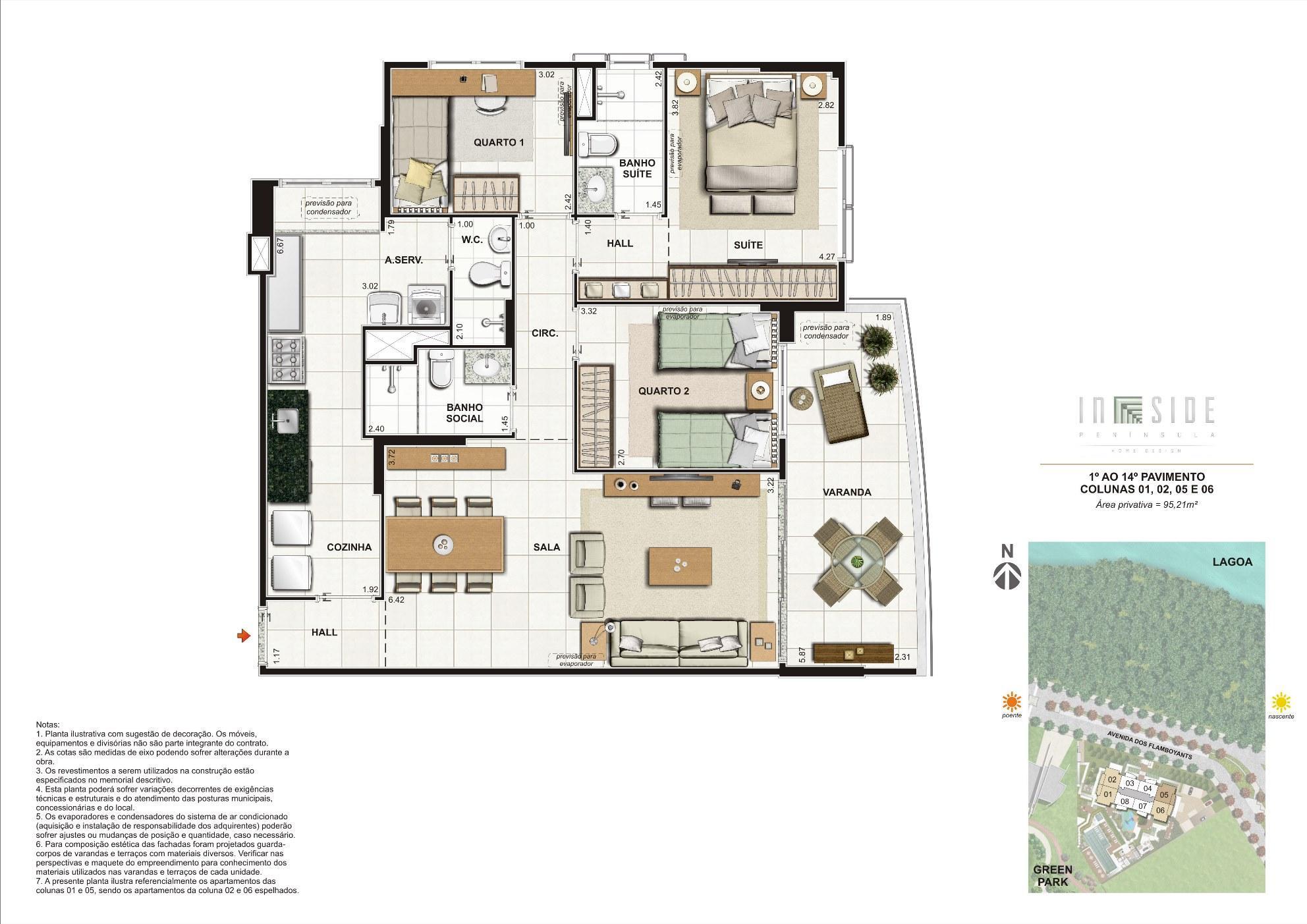Planta 3 Quartos 1º ao 14º Pavimento Colunas 01, 02, 05 e 06 Área Privativa = 95,21m2 | IN SIDE PENÍNSULA HOME DESIGN – Apartamento na  Barra da Tijuca - Rio de Janeiro - Rio de Janeiro