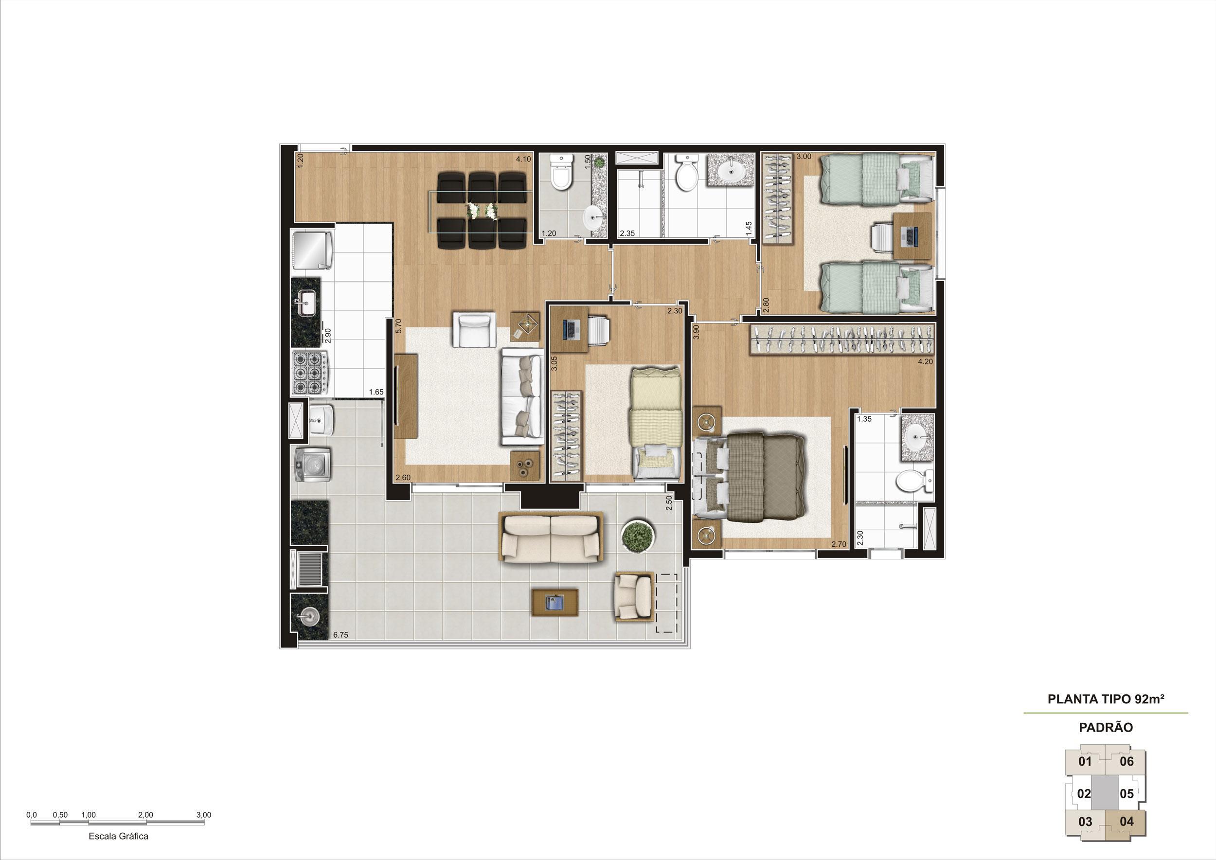 Planta tipo do apartamento de 92m² 3 dorms (1 suíte) | Cyrela Classic Lapa – Apartamento na  Lapa - São Paulo - São Paulo