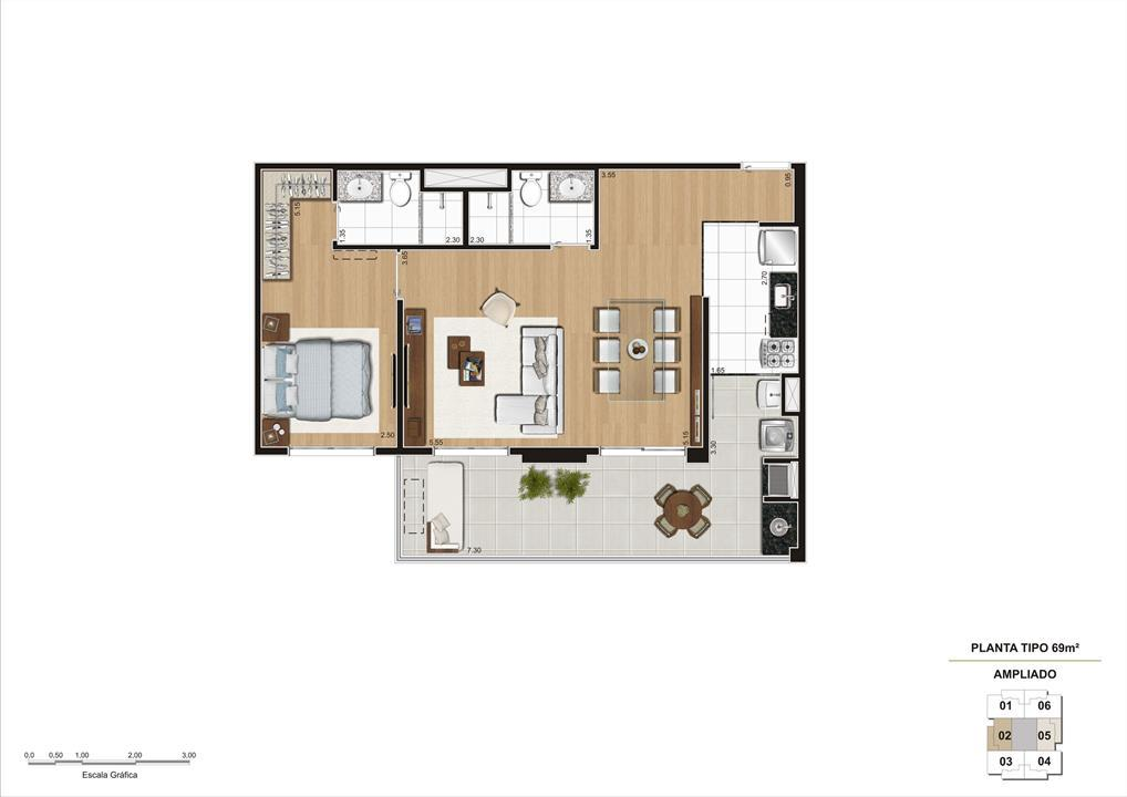 Planta opção Living Ampliado do apartamento de 69m² 1 suíte | Cyrela Classic Lapa – Apartamentona  Lapa - São Paulo - São Paulo