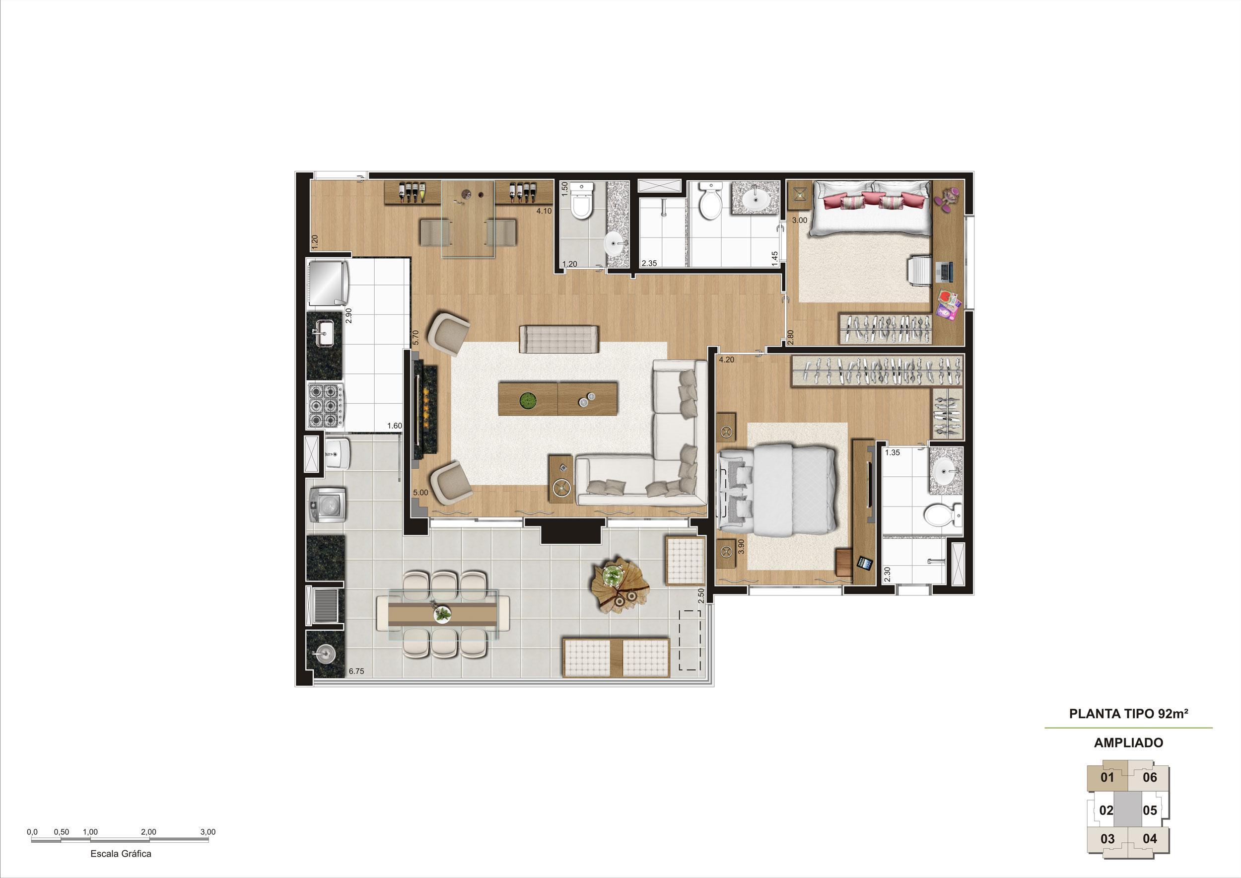 Planta opção Living Ampliado do apartamento de 92m² 2 dorms | Cyrela Classic Lapa – Apartamento na  Lapa - São Paulo - São Paulo