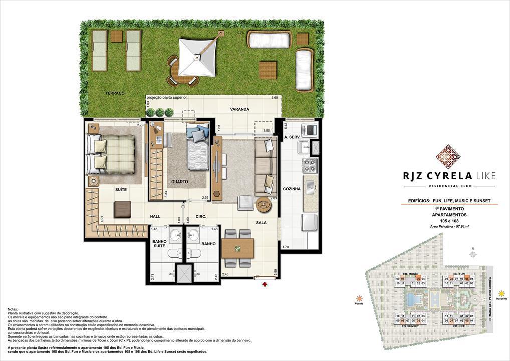 Apartamentos Garden de 2 quartos no 1º Pavimento. Área Privativa 105 e 108   97,91m² | RJZ Cyrela Like Residencial Club – Apartamentoda  Barra Olímpica - Rio de Janeiro - Rio de Janeiro