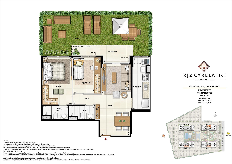 Apartamentos Garden de 2 quartos no 1º Pavimento. Área Privativa 106   99,51m² e 107   98,86m² | RJZ Cyrela Like Residencial Club – Apartamento da  Barra Olímpica - Rio de Janeiro - Rio de Janeiro