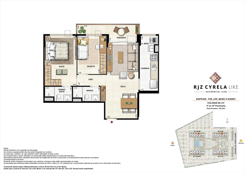 Apartamentos Tipo de 2 quartos do 2º ao 14º Pavimento. Área Privativa Colunas 06 e 07   66,10m² | RJZ Cyrela Like Residencial Club – Apartamento da  Barra Olímpica - Rio de Janeiro - Rio de Janeiro