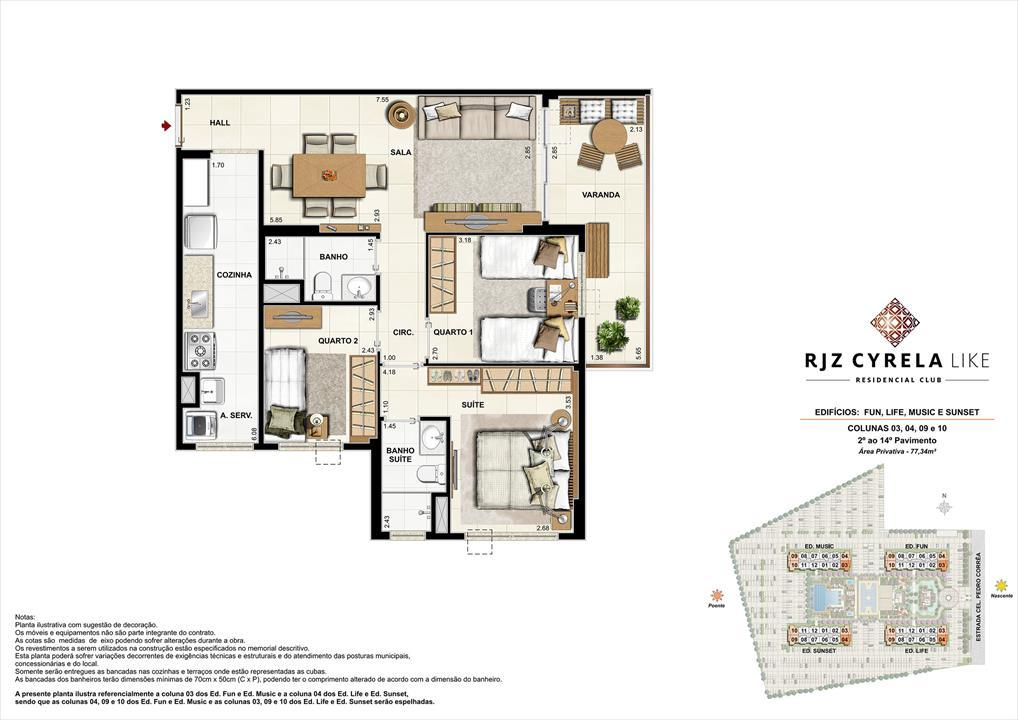 Apartamentos Tipo de 3 quartos do 2º ao 14º Pavimento. Área Privativa Colunas 03, 04, 09 e 10   77,34m² | RJZ Cyrela Like Residencial Club – Apartamentoda  Barra Olímpica - Rio de Janeiro - Rio de Janeiro