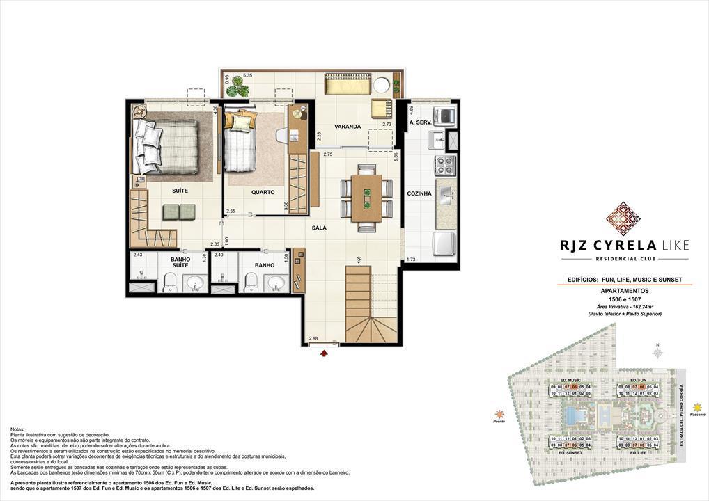 Coberturas Duplex (pavimento inferior   opção 3 quartos). Área Privativa  1506 e 1507   162,24m² | RJZ Cyrela Like Residencial Club – Apartamentoda  Barra Olímpica - Rio de Janeiro - Rio de Janeiro