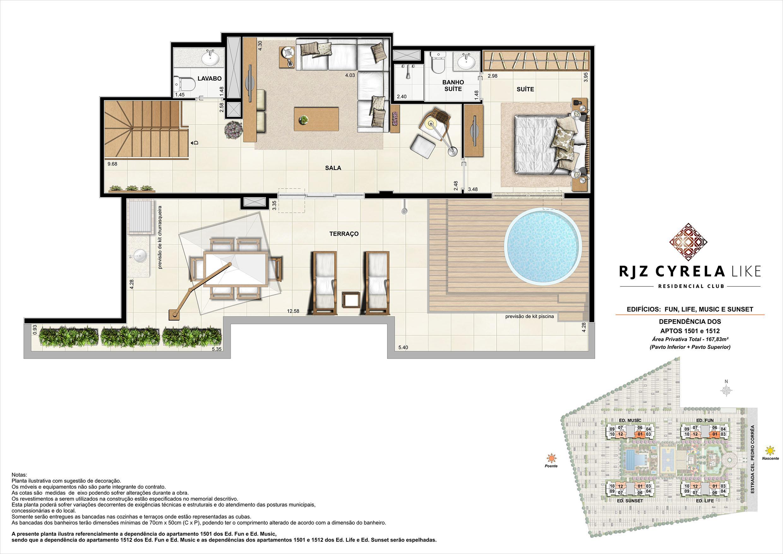 Coberturas Duplex (pavimento superior   terraço). Área Privativa Total  1501 e 1512   167,82m² | RJZ Cyrela Like Residencial Club – Apartamento da  Barra Olímpica - Rio de Janeiro - Rio de Janeiro