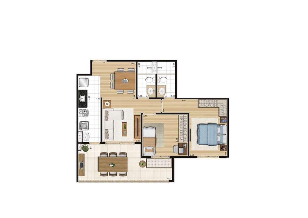Planta do apartamento de 70m² | Cyrela Cypriani 955 Ipiranga – Apartamentono  Ipiranga - São Paulo - São Paulo
