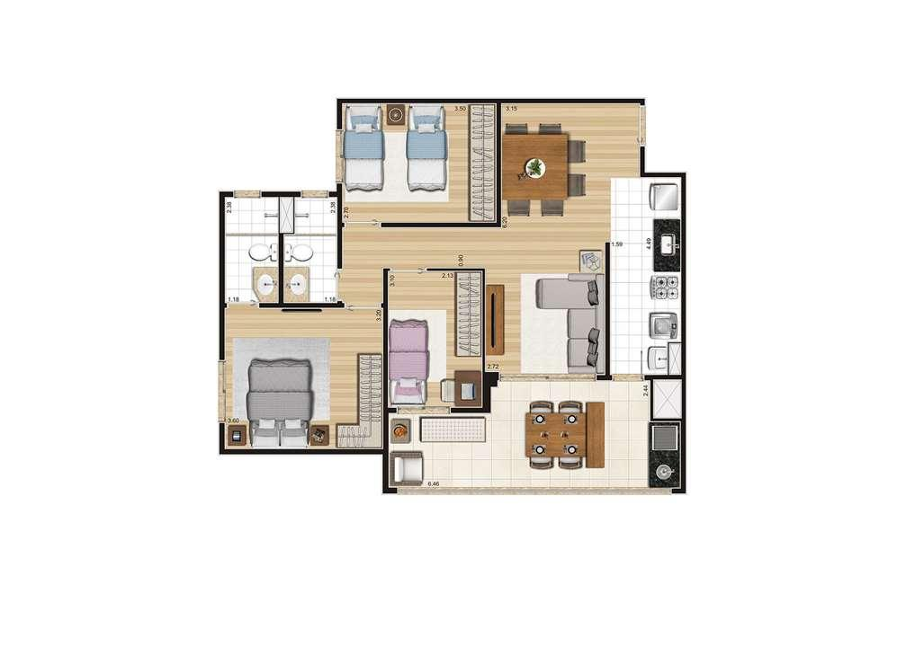Planta do apartamento de 85m² | Cyrela Cypriani 955 Ipiranga – Apartamentono  Ipiranga - São Paulo - São Paulo