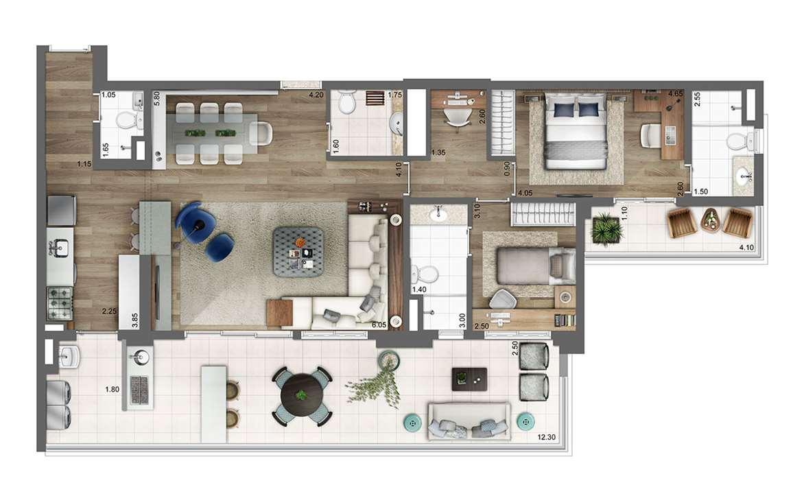 Planta opção 133m² | 2 suítes | 2 vagas | living ampliado | home office | Atmosfera – Apartamentono  Bosque da Saúde - São Paulo - São Paulo