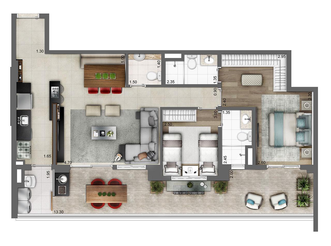 Planta opção 103m² | 2 suítes | 2 vagas | living ampliado  | Atmosfera – Apartamento no  Bosque da Saúde - São Paulo - São Paulo