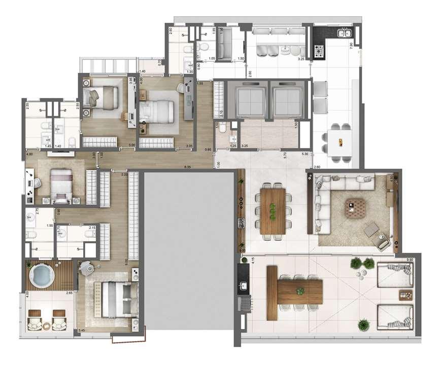 PLANTA TIPO   FINAL 1 – 275m² | One Sixty – Apartamentona  Região da Faria Lima - São Paulo - São Paulo