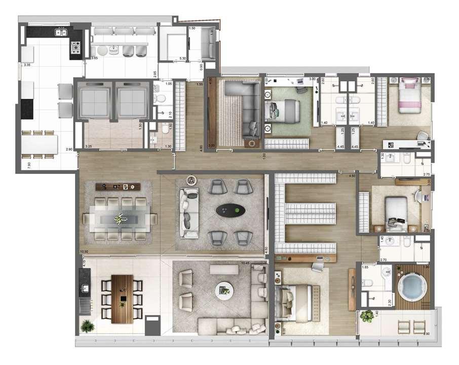 PLANTA TIPO   FINAL 1 – 343m² | One Sixty – Apartamentona  Região da Faria Lima - São Paulo - São Paulo