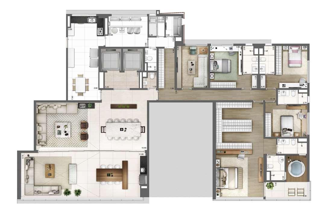 PLANTA TIPO   FINAL 2 – 343m² | One Sixty – Apartamentona  Região da Faria Lima - São Paulo - São Paulo