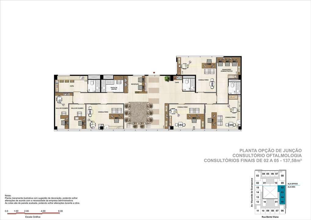 Consultório com 137m² (Opção de Junção) - Sugestão de consultório de Oftalmologia   DOC Castelo Batel – Salas Comerciaisno  Batel - Curitiba - Paraná