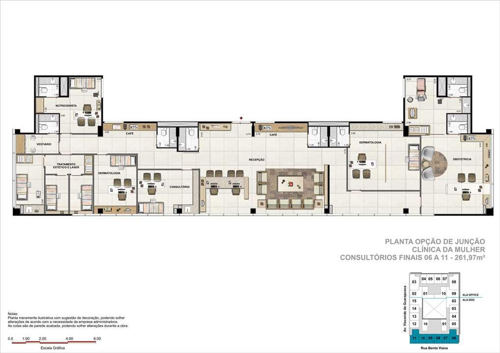 Consultório com 261m² (Opção de Junção) - Sugestão de consultorio de Clínica da Mulher   DOC Castelo Batel – Salas Comerciaisno  Batel - Curitiba - Paraná