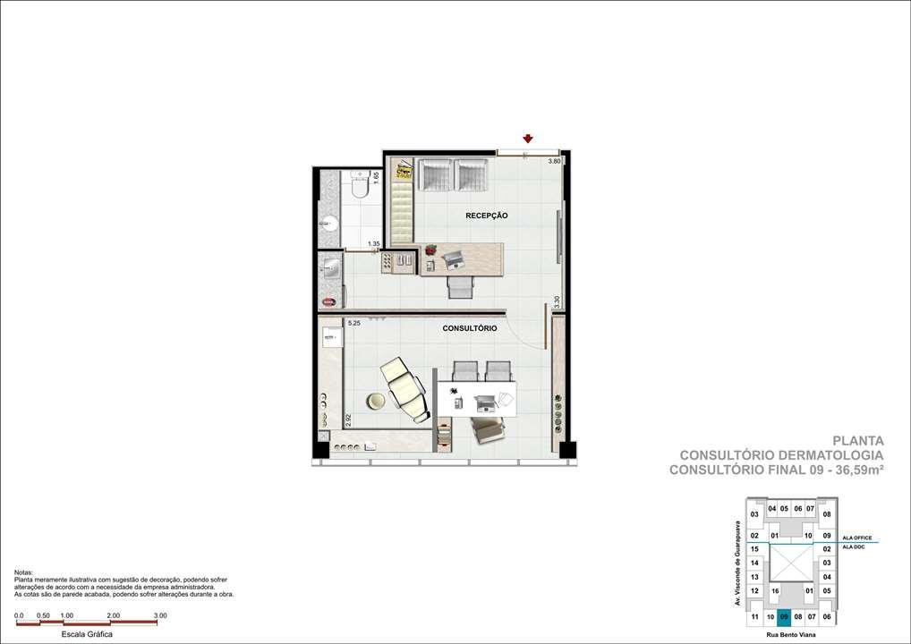 Consultório com 36m² - Sugestão de consultório de Dermatologia   DOC Castelo Batel – Salas Comerciaisno  Batel - Curitiba - Paraná