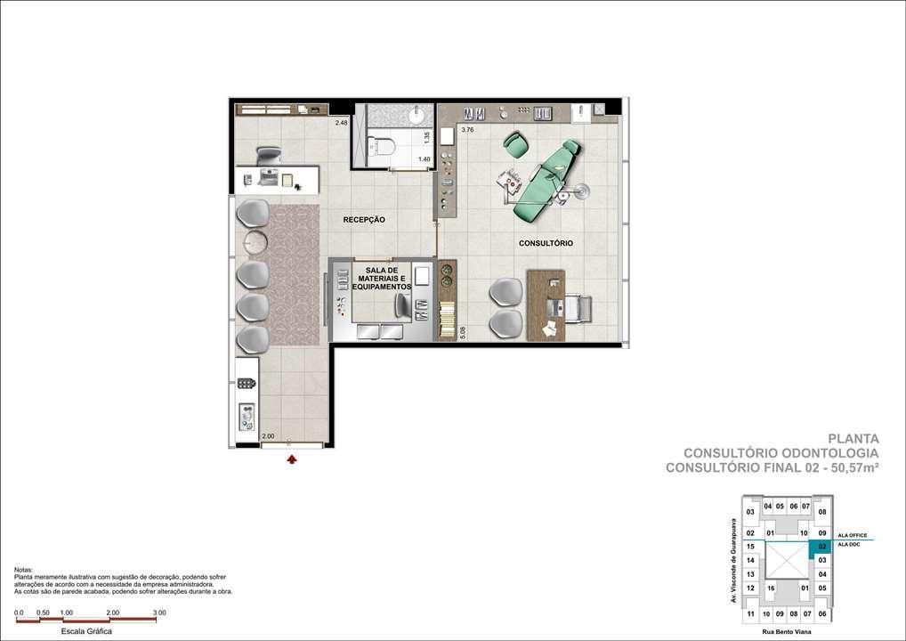 Consultório com 50m² - Sugestão de consultório de Odontologia   DOC Castelo Batel – Salas Comerciaisno  Batel - Curitiba - Paraná