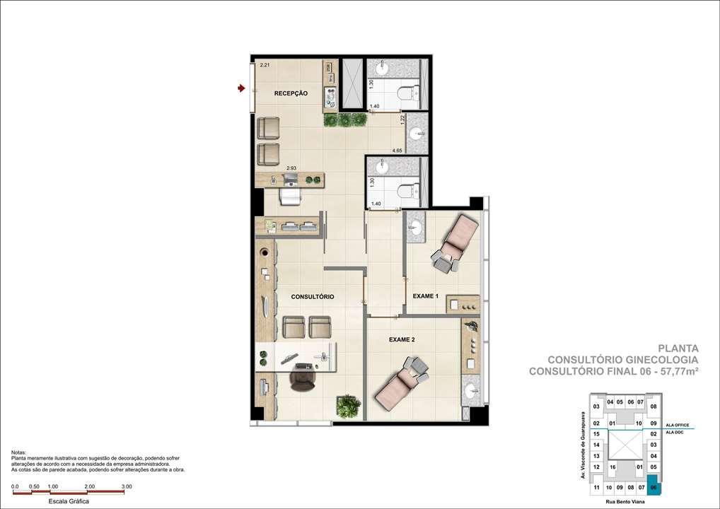 Consultório com 57m² - Sugestão de consultório de Ginecologia   DOC Castelo Batel – Salas Comerciaisno  Batel - Curitiba - Paraná