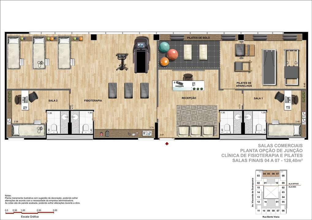 Sala Comercial com 128m² - Sugestão de Clínica de Pilates e Fisioterapia   DOC Castelo Batel – Salas Comerciaisno  Batel - Curitiba - Paraná