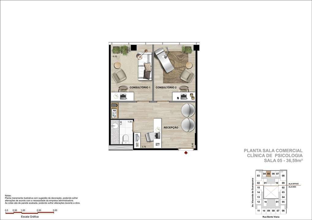 Sala Comercial com 36m² - Sugestão de Clínica de Psicologia   DOC Castelo Batel – Salas Comerciaisno  Batel - Curitiba - Paraná