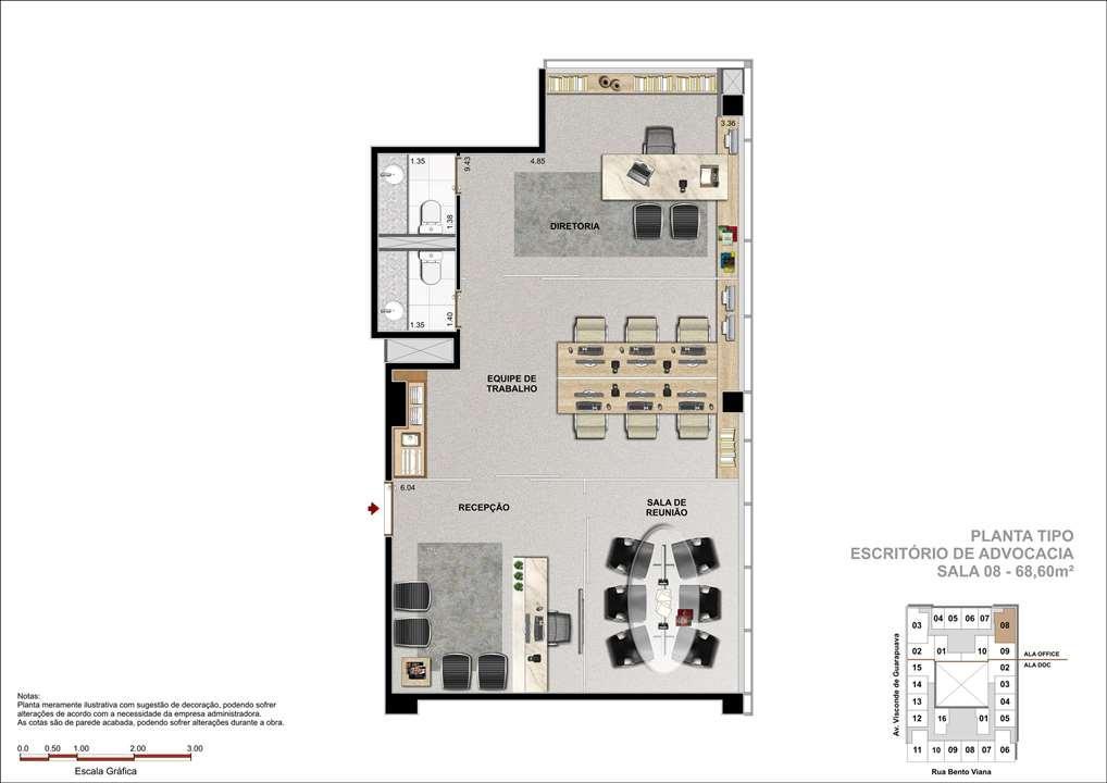 Sala Comercial com 68m² -  Sugestão com Escritório de Advocacia   DOC Castelo Batel – Salas Comerciaisno  Batel - Curitiba - Paraná