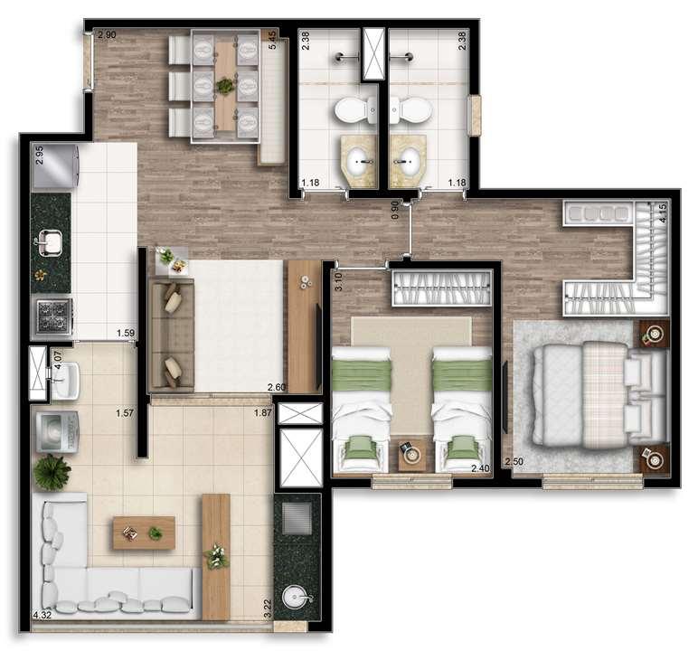 Planta ponta 67.75m² | Living Wish – Apartamentoem  Santo Amaro - São Paulo - São Paulo