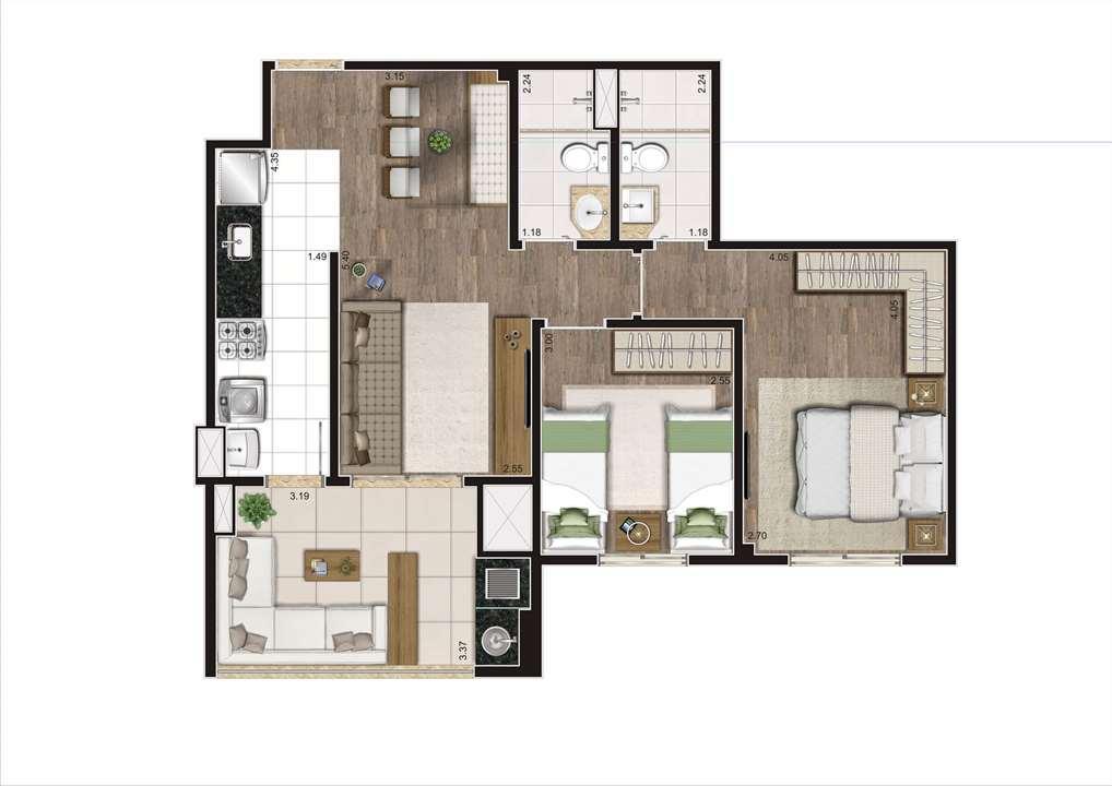 Planta Tipo Ilustrada 64 m² -  2 Dormitórios (1 Suíte) | Cyrela Heredità – ApartamentoNo  Campestre - Santo André - São Paulo