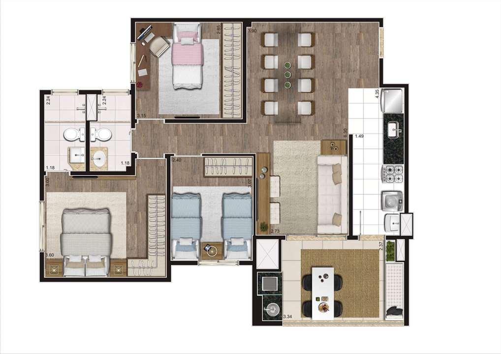 Planta Tipo Ilustrada 81 m² - 3 Dormitórios (1 Suíte) | Cyrela Heredità – ApartamentoNo  Campestre - Santo André - São Paulo