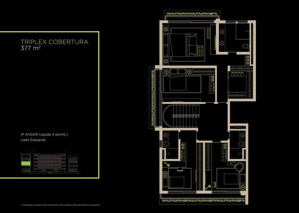 Triplex Cobertura 377m²   2°andar (Opção 4 Dorms.) | Arruda 168 – Apartamentono  Alto de Pinheiros - São Paulo - São Paulo