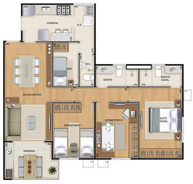 Torres 1 e 4 - 3 Quartos - 96 m² - Planta tipo | Reserva Verde Residencial Park – Apartamentoem  Laranjeiras - Serra - Espírito Santo