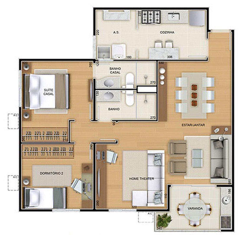 Torres 2 e 3 - 3 Quartos - 82 m² - Planta opção - 2 quartos e Sala ampliada | Reserva Verde Residencial Park – Apartamento em  Laranjeiras - Serra - Espírito Santo