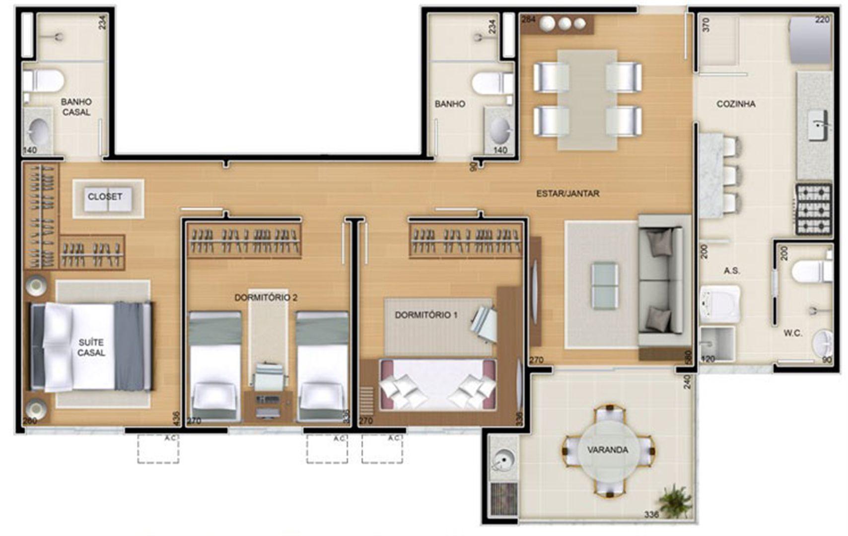 Torres 2 e 3 - 3 Quartos - 85 m² - Planta opção - Cozinha Americana | Reserva Verde Residencial Park – Apartamento em  Laranjeiras - Serra - Espírito Santo